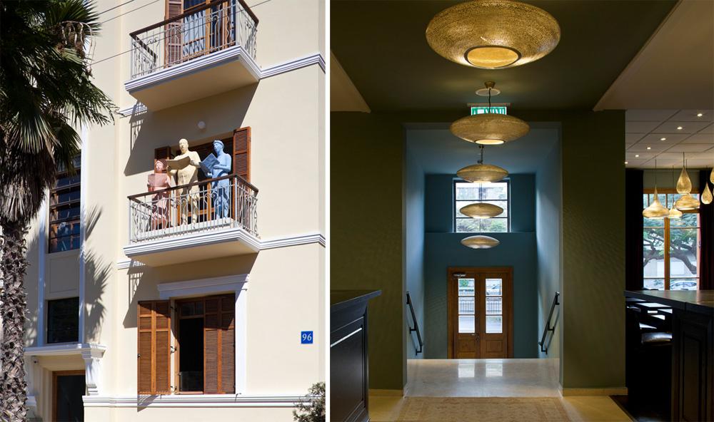 משמאל: החזית המוכרת של הבניין ברוטשילד 96, מהראשונים ששומרו ושופצו בשדרה. מימין: גרם מדרגות מוביל מדלת הכניסה אל הלובי והמסעדה (צילום: עמית גרון)