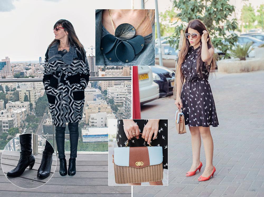 מיכל עובדיה (מימין): משקפיים: וינטג׳ משוק העתיקות בכיכר דיזנגוף; שמלה: H&M; תיק: מרומא; נעליים: רנואר. קארין גרוס (משמאל): משקפיים: ריי־באן; מעיל צמר: דיזל; שרשרת: חגית פינק; ג'ינס: טופשופ; נעליים: שני בר (צילום: אלה אוזן)