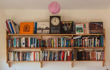 על הקיר בפינת העבודה בסלון (צילום: טל ניסים)