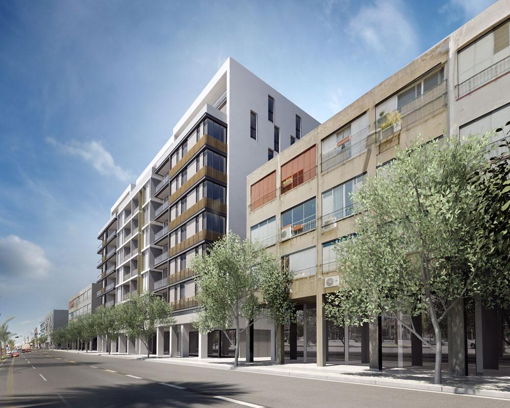 פרויקט שמתכנן האדריכל אדר סקר ברחוב הראשי של העיר, אבן גבירול: תשע קומות גובה, כשהחצרות האחוריות נפתחות לשימוש הציבור הרחב. יאושר? (הדמיה: תומר הררי)