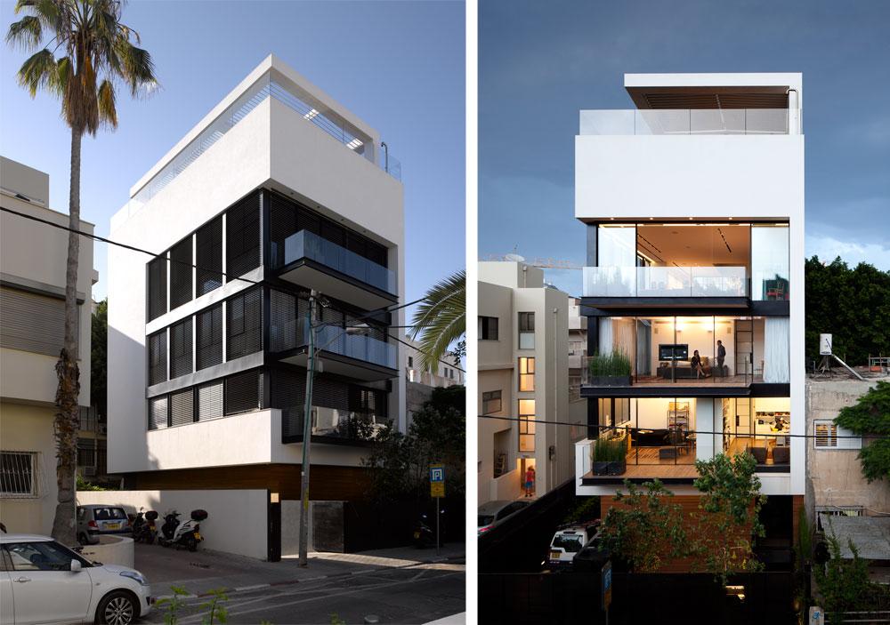 מימין: כשהחלונות מוארים ופתוחים אפשר לראות שבקומה הראשונה חדרי ילדים ועבודה, בשנייה חדר ההורים ובשלישית הסלון.  משמאל: כשהתריסים הוונציאניים מוגפים החלונות הופכים למשטחים שחורים. במבט ראשון נראה שהבית בן 4 קומות, בגלל שרק ל-3 הקומות המרכזיות חלונות גדולים. קומת הכניסה מחופה עץ טיק, הקומה הרביעית פונה פנימה ולא לרחוב, והבריכה על הגג לא נראית מבחוץ (צילום: עמית גרון)