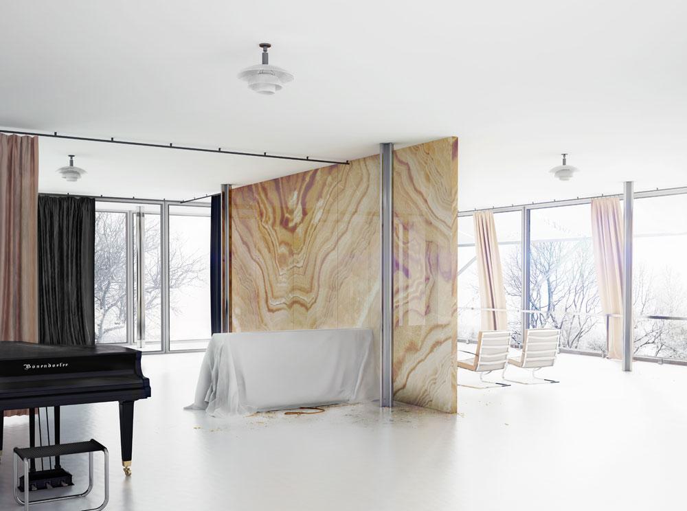 ''חדר הזכוכית'' מאת סיימון מאואר. הבית הזה דווקא קיים במציאות: וילה טוגנדהאט בצ'כיה, בתכנונו של מיס ואן דר רוהה (באדיבות מוזיאון תל אביב לאמנות)
