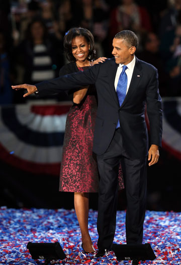 מישל אובמה בשמלה של מייקל קורס, אותה לבשה בשלושה אירועים מתוקשרים שונים בשנים 2012-2009 (צילום: gettyimages)