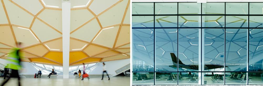 וזהו שדה התעופה החדש בגיאורגיה, גם הוא בתכנונו של אותו משרד אדריכלים. במרכזו נמצאת קונסטרוקציה בצורת מטרייה הפוכה, שסביבה מאורגנים כל השימושים של השדה. עתיד לקלוט כמיליון איש בשנה (צילום: Nakanimamasakhlisi)