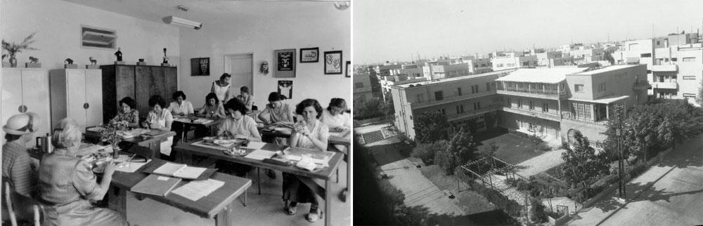 כאן הייתה פנימיה, בית ספר מקצועי לבנות וסמינר המורות ''תלפיות''. 3,000 מטרים רבועים שטחו של המבנה (מתוך אוסף שולה וידריך , דני רכט - אתר תל-אביב 100)