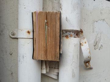 התנ''ך בין צינורות הביוב. רחוב הקישון, תל אביב, 1 בדצמבר 2013 (צילום: ציפה קמפינסקי)