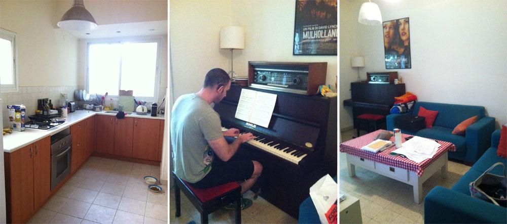 תמונות הדירה, ''לפני''. מימין ובמרכז: הסלון. הפסנתר והרדיו הישן שמעליו מצאו את מקומם מחדש לאחר השיפוץ. משמאל: המטבח. הוא נשאר במקומו המקורי, אך נפתח אל הסלון וחודש (צילום: שירי בלום לאודן)