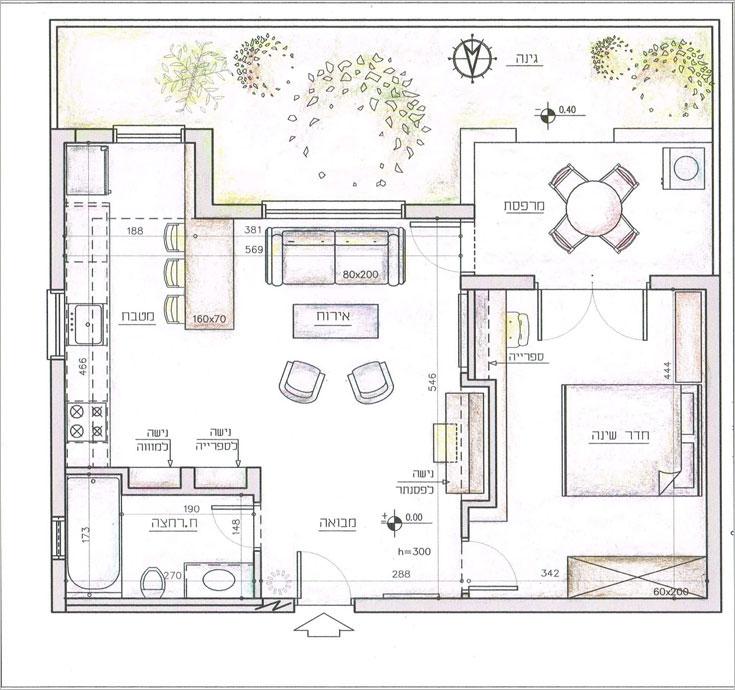 תוכנית הדירה, ''אחרי'': הסלון וחדר השינה החליפו מקום. המטבח והמבואה נפתחו לחלל המרכזי, השירותים ''הוכנסו'' לחדר הרחצה (תכנית: שירי בלום לאודן)