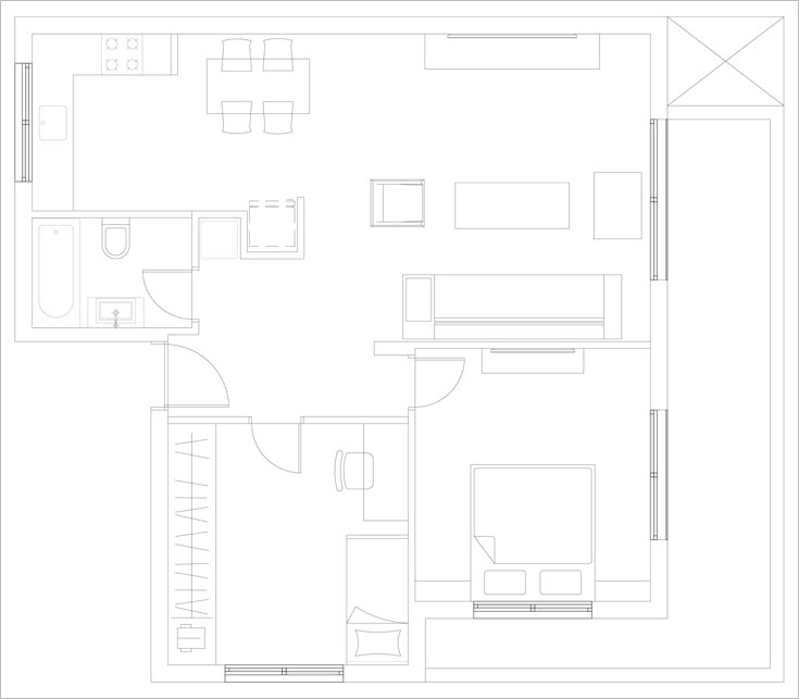 תוכנית הדירה שעיצבה פזית וינר: מצד אחד  של המבואה חדר עבודה וחדר שינה, ומצדה השני - הסלון, פינת האוכל והמטבח. המבנה נותר כשהיה, ועיקר העבודה הושקעה בבחירת הרהיטים והפריטים (תכנית: פזית וינר)