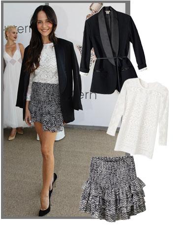 מרינה קבישר בטוטאל לוק של איזבל מארה ל-H&M (ז'קט: 599 שקל, חולצה: 499 שקל, חצאית: 349 שקל) (צילום: הנס מוריץ, רפי דלויה)