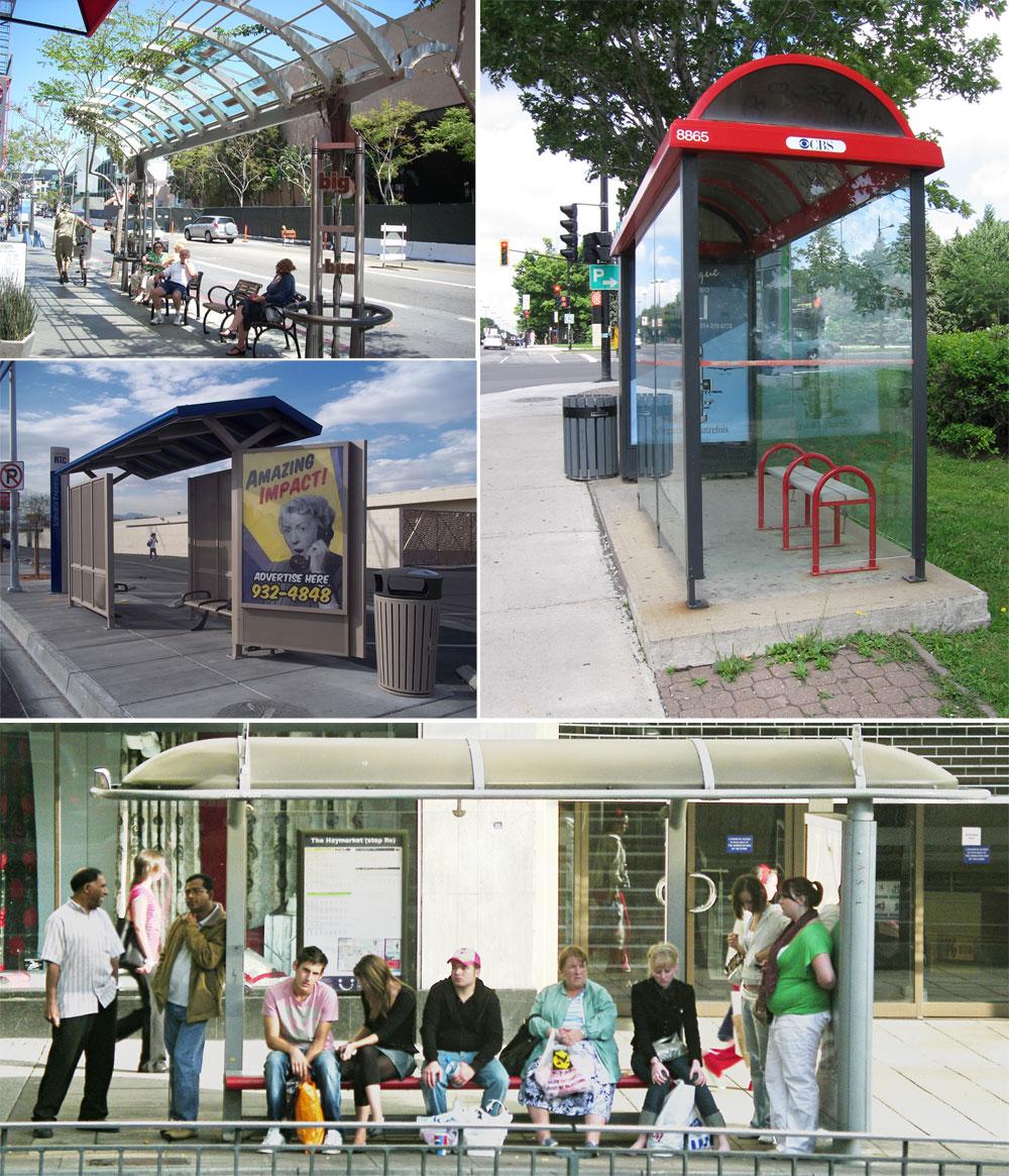 דוגמאות מערים שונות בעולם מוכיחות כי תחנות אוטובוס לא חייבות להיראות אותו דבר. אדריכלים ומעצבים ממליצים להתאים את התחנה למיקומה ולזווית מול השמש (צילום: stringberd, time_anchor, Anthony, Chris, cc)
