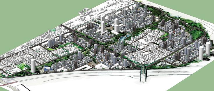 רוב השכונה כולל בניינים בני חמש עד שבע קומות, כשבאופן לא אחיד מתרוממים מגדלים במקומות שונים (תכנון: רוטמן אדריכלים ציבי שפרינגר רובי טלפוס )