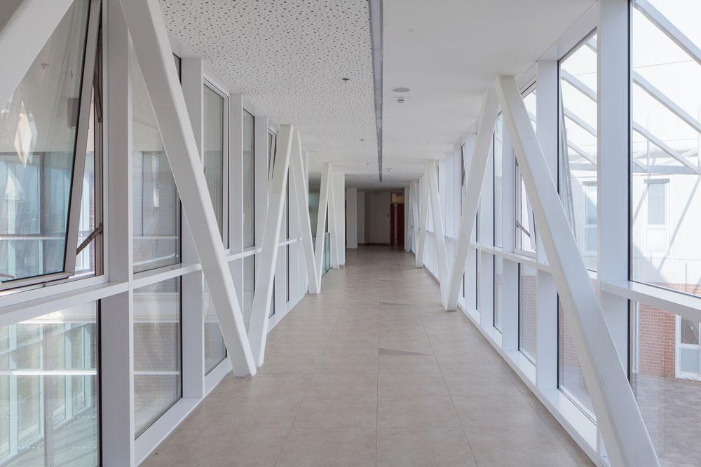 הגשר המוביל לקומת המשרדים. קומה זו צפופה יחסית לשתי הקומות האחרות (צילום: טל ניסים)