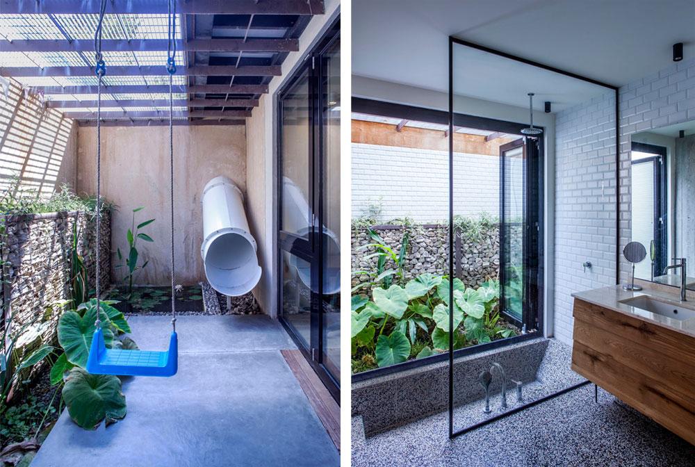 מימין: אחד משני חדרי הרחצה. ברצפת השומשום הכהה שוקע אגן רחצה, בהשראה יפנית. משמאל: מגלשה מובילה מגינת הבית אל החצר האנגלית הצמודה לחדרה של הבת הקטנה (צילום: יואב גורין)
