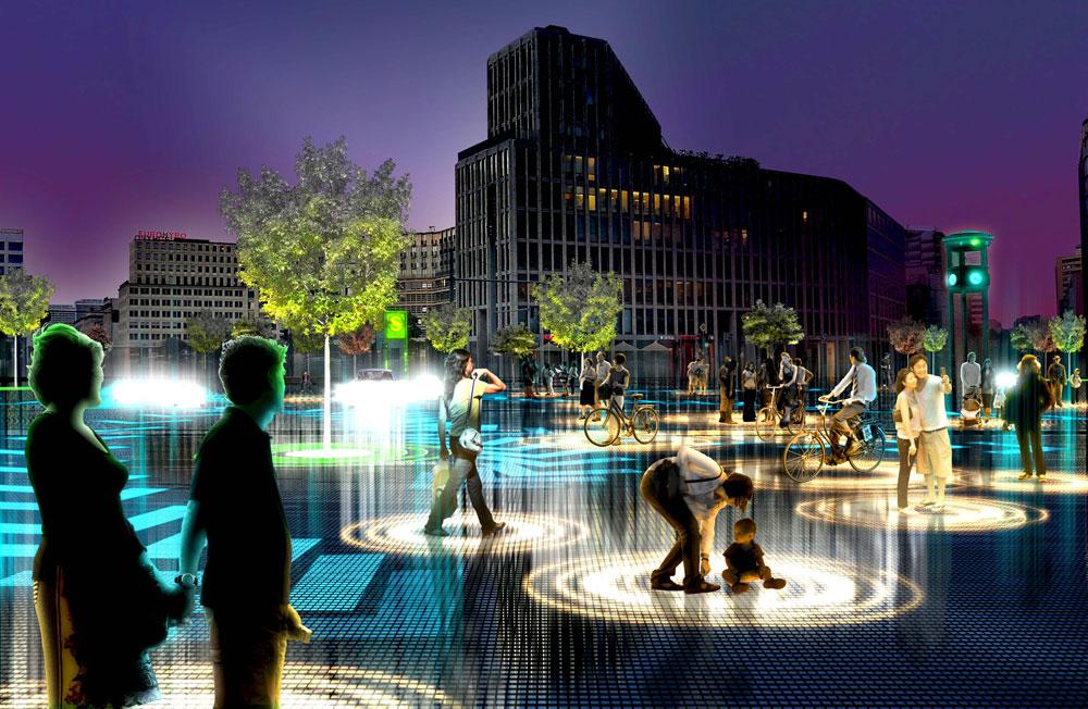 הדמיה מתוך ההצעה של משרד האדריכלים ''BIG'' לעיר ללא נהגים, במסגרת תחרות ''AUDI URBAN FUTURE AWARD''. כשמחשבים ישלטו בהגה יהיו הרבה פחות תאונות דרכים ומרחב גדול משטח הכבישים יתפנה לצרכים אחרים (הדמיה: Bjarke Ingels Group)