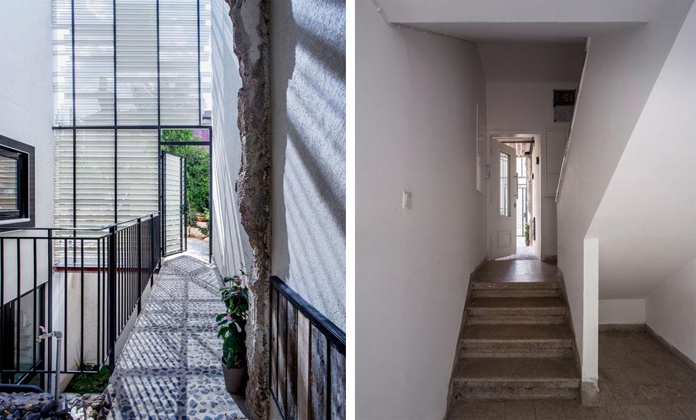מימין: לבית לא תוכננה כניסה נפרדת. האדריכל אבנר קובלנץ החליט לשמר את הכניסה המקורית, מחדר המדרגות המשותף, אבל אחרת. משמאל: דלת הכניסה נפתחת אל חצר פנימית, תחומה ברפפות שמזכירות את התריסולים של פעם, שנבנתה מעל החצרות האנגליות שמאירות את הקומה החפורה. קצה קיר הכניסה המקורי שנהרס נותר חשוף בכוונה, מעין זכר לבית שהיה (צילום: יואב גורין)