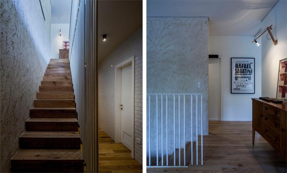 מימין: גרם מדרגות יורד לקומת חדרי השינה. מיוחס עיצבה גם את מנורת הקיר. משמאל: קיר המדרגות חופה בטיח חול, והמעקה מורכב מצינורות מים ביתיים בקוטר שני צול. ''ההתקנה פשוטה ומהירה, והעלויות מאוד זולות ביחס לתוצאה'', אומר קובלנץ (צילום: יואב גורין)