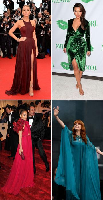שמלות של גוצ'י על השטיח האדום: בלייק לייבלי, קים קרדשיאן, פלורנס וולש וג'ניפר לופז (צילום: gettyimages)