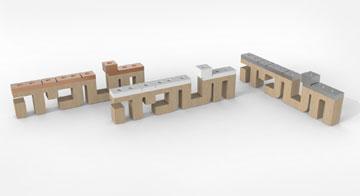 חנוכייה בעיצוב לירון שאקי ודניאל שמי שתוצג בכיכר הבימה. שילוב בין עיצוב תעשייתי לטיפוגרפיה