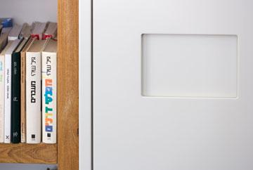 ארון שירות וספרייה - בין הסלון לפינת העבודה (צילום: שי אפשטיין )