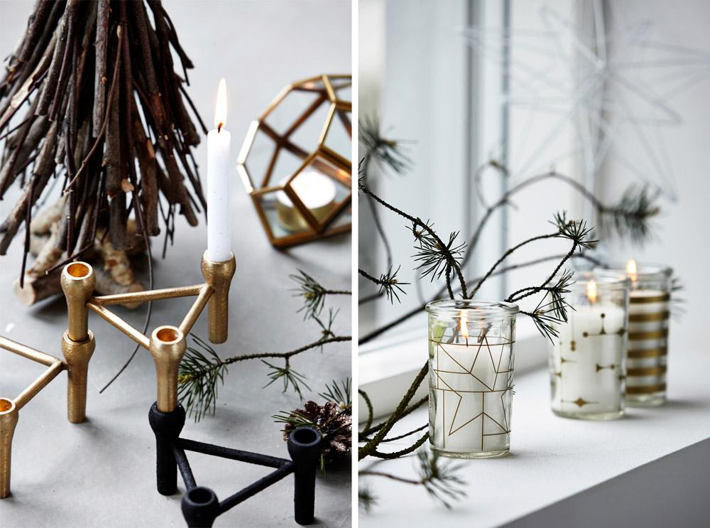 הנרות יכולים לקשט את השולחן או את אדן החלון או פשוט להיות מונחים על המדף. אפשר לשים אותם בתוך כוס זכוכית או בפמוטים מעוצבים (באדיבות house doctor)