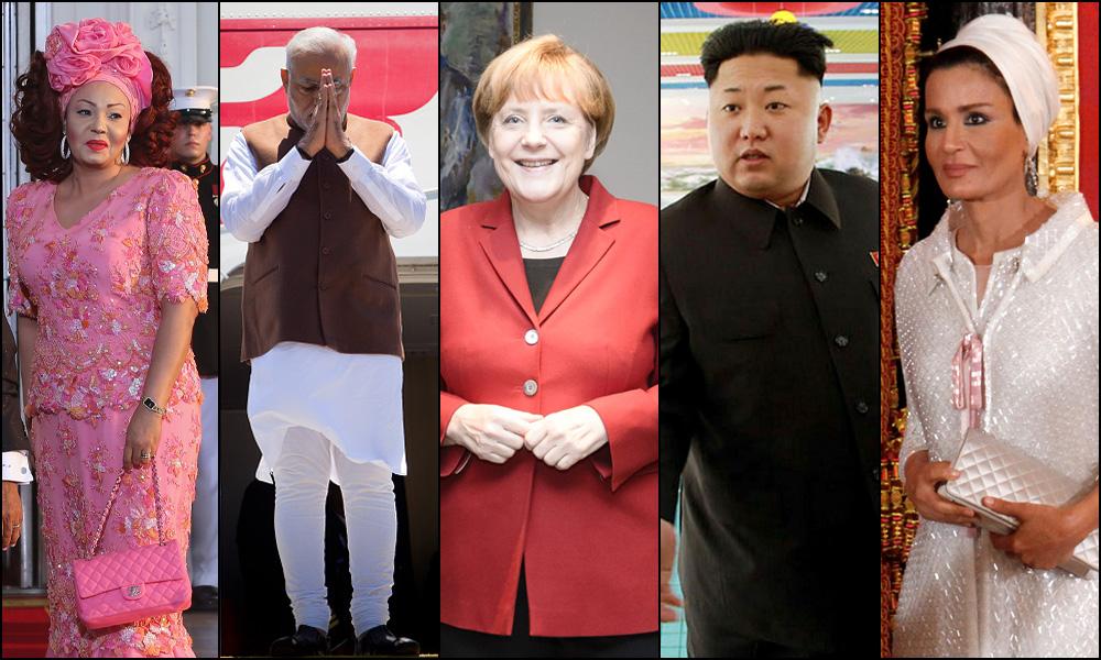 בגדים אינם רק כסות, אלא חלק בלתי נפרד מחוקי המשחק הפוליטי. שייח'ה מוזה, קים ג'ונג און, אנגלה מרקל, נרנדרה מודי ושאנטל ביה (צילום: gettyimages, rex)