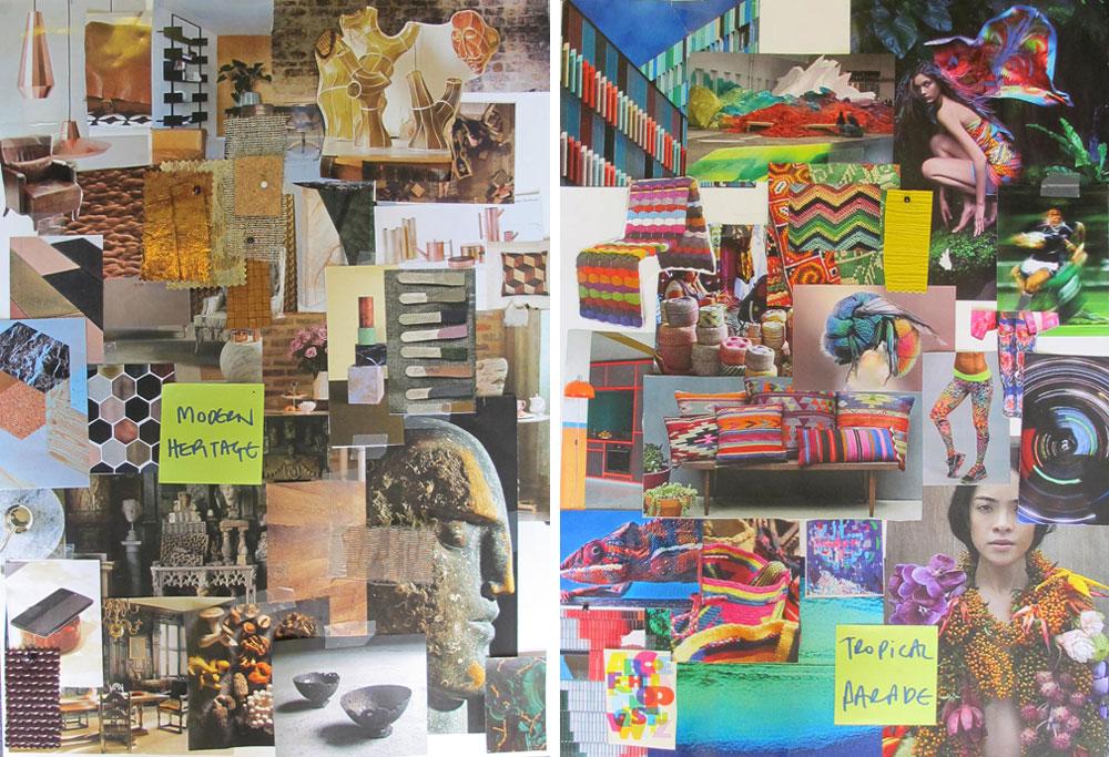 מימין: לוח השראה טרופי-שבטי עז גוונים. משמאל: מניפה רגועה יותר, בגוני עץ וויסקי. מתוך סדנה לגיבוש טרנדים בלונדון, שבה השתתפו חברות צבעים מרחבי העולם (כולל ''טמבור'' הישראלית) (באדיבות טמבור)