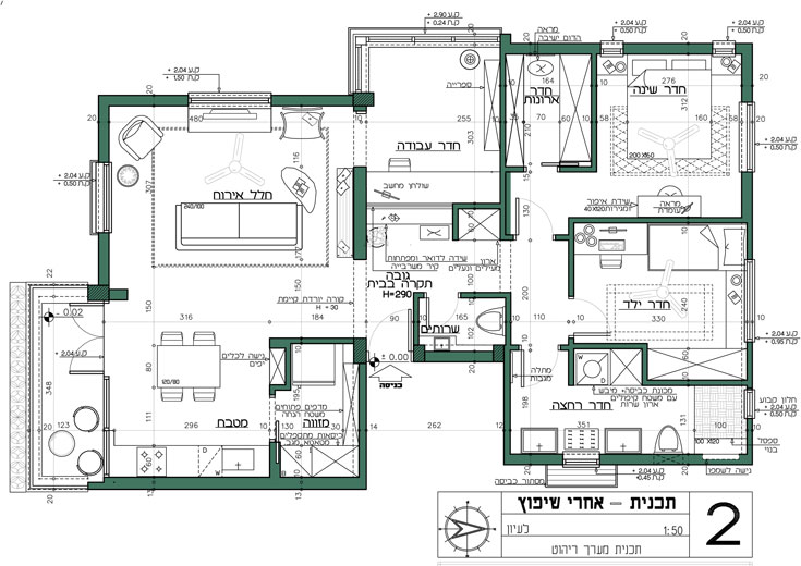 """ו""""אחרי"""": החלק הימני כולל חדר הורים, חדר לילד וחדר רחצה, ובחלק השמאלי יש חלל אחד גדול עם סלון (שמוביל לחדר העבודה), מטבח, מזווה ומרפסת פתוחה (תכנון: Studio GOLANALON)"""