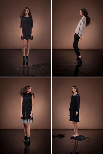 ג'ינלי. בגדי נשים בקו נקי עם שילובי בדים שונים (צילום: תמיר ניב)