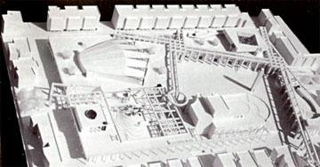ההצעה של תלמידות רם כרמי. ציר אלכסוני (באדיבות ארכיון אדריכלות ישראל)