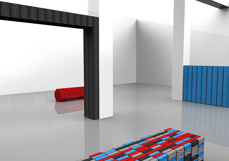 הדמיה של המיצג Jamspace, אחד האירועים המסקרנים בתערוכה. רמקולים אלחוטיים עשויים גומי טבעי בשלל צבעים (באדיבות Fuseproject)