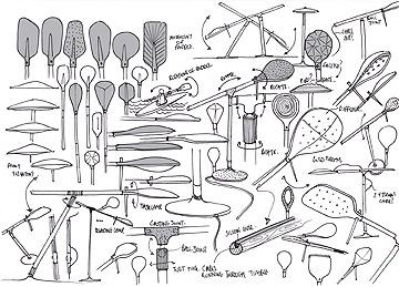 סקיצה של קולקציית מנורות המשוט (באדיבות Fabbian)