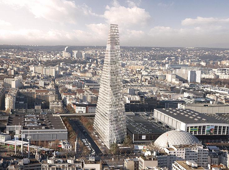 הדמיית הפירמידה. גל ההתנגדויות כבר הוריד את הגובה בעשר קומות (צילום: הרצוג ודה מרון)