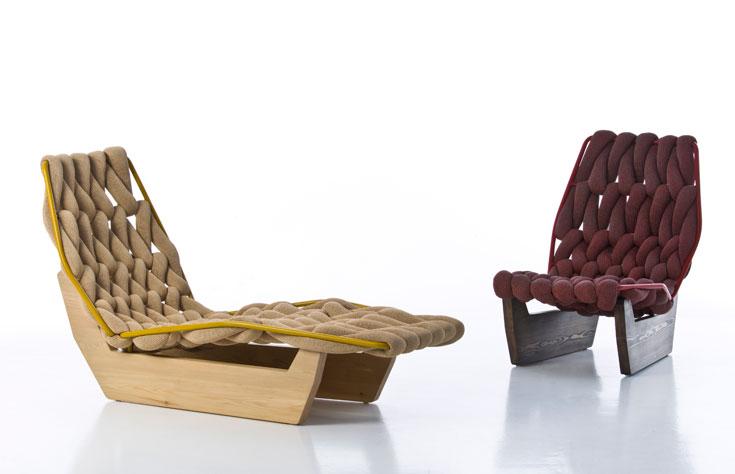 ספות צבעוניות מאלמנטים דמויי חבלים בעיצוב פטריסיה אורקיולה. מתאימות גם לפנים וגם לחוץ