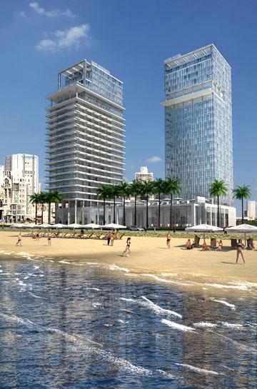 הדמיית צמד המגדלים. פחות רוח לתושבי תל אביב (הדמיה: פייגין אדריכלים)