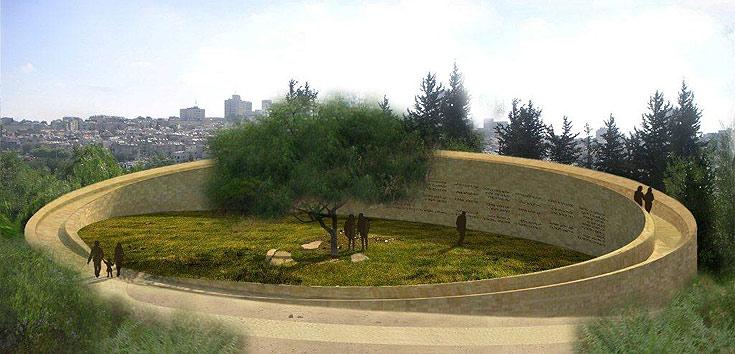 האנדרטה המתוכננת בגן סאקר. הגן מתחיל במפלס אפס וממנו יוצאת חומת אבן מעוגלת שמקיפה אותו, וגובהה ארבעה מטרים. אפשר יהיה לטייל עליה ולהשקיף על הנוף