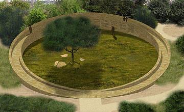 האנדרטה המתוכננת בגן סאקר לחטיבת הראל, בתכנון דני קרוון