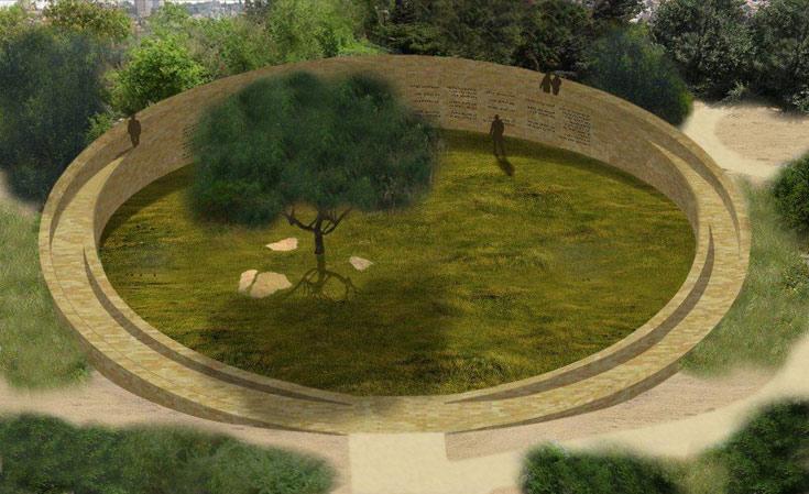 הדמיית האנדרטה לזכר חללי חטיבת הראל. על הדופן הפנימית של החומה יופיעו שמות החללים, יותר מ-400 במספר