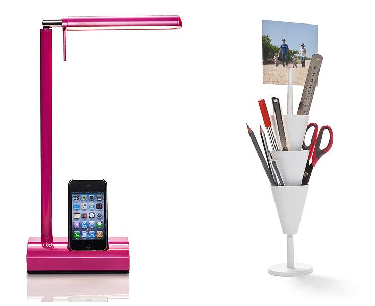 מימין - אין סטודנט שלא יעריך: מגדל עטים ושאר חפצי משרד, בעיצוב יעקב קאופמן ל''מונקי ביזנס''. 59 שקלים, סוהו. משמאל - אין טכנולוג של יעריך: מנורה שהיא גם מטען למחשב ולטלפון הנייד, עם תקע אחד במקום שלושה. 790 שקלים, קמחי תאורה (צילום: דן לב)