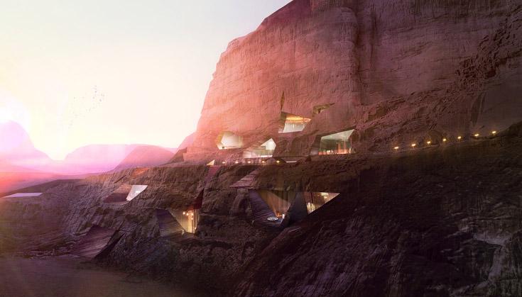 Rock Lodge. חדרים חצובים בסלע (הדמיה: Luxigon)