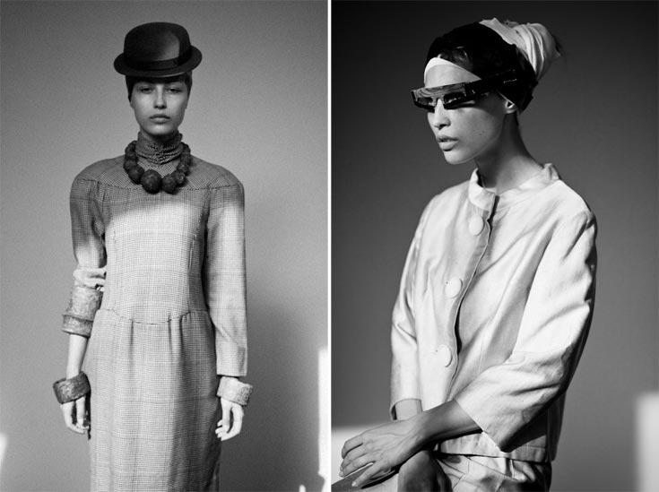 מימין: חליפה, המחתרת; משקפיים, כרמי ואב. משמאל: שרשרת וצמידים, ששון קדם; שמלה, לנוון בהמחתרת; כובע, אניגמה (צילום: אלון שפרנסקי)