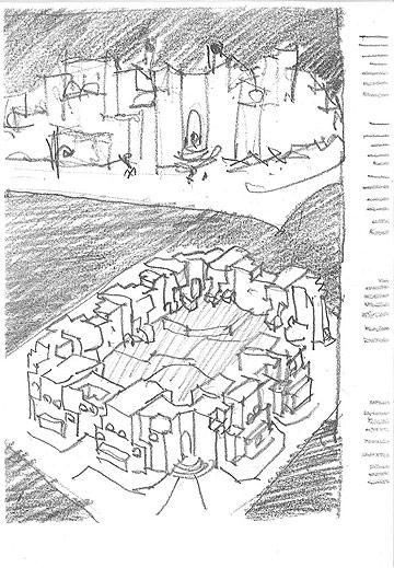 סקיצה לתוכנית הספרייה הלאומית באיראן (באדיבות ארכיון אדריכלות ישראל)