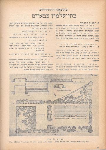 תוצאות התחרויות לתכנון בתי עלמין צבאיים, מתוך עיתון אגודת האינג'ינרים והארכיטקטים בישראל, מארס 1951 (באדיבות ארכיון אדריכלות ישראל)