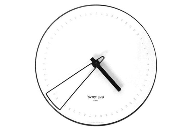 שעון בערך. מחוג הדקות מכסה טווח זמן שמאפשר גמישות בזמנים, כמקובל במקומותינו. עיצוב: מוטי ברזילי, המכון הטכנולוגי חולון