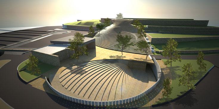 הדמית אתר ההנצחה הלאומי המתוכנן בהר הרצל. אדריכלים: קימל אשכולות, בשיתוף קלוש צ'ציק (הדמיה: קימל אדריכלים)