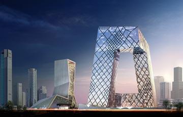 בניין הטלוויזיה בבייג'ין. אלה היה האדריכל האחראי (הדמיה: OMA )