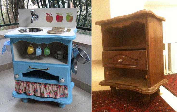 לפני ואחרי. שידה ישנה שהפכה למטבח צבעוני ומזמין לילדים (צילום: ענבר וייס )
