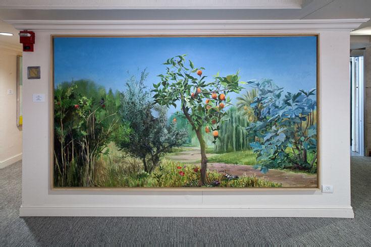 ''פרדס'', מיה זר, 2010. אחד הציורים במלון-מוזיאון (צילום: טל ניסים)