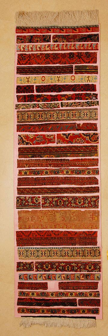 חיבור קרעי שטיחים ישנים, שמחזיר אותם לימיהם כחפץ נחשק. עבודה של אילון ערמון (צילום: אילון ערמון)
