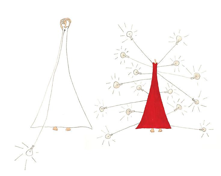 רישומים של נלי אגסי. דמויות דקיקות בשמלות ארוכות